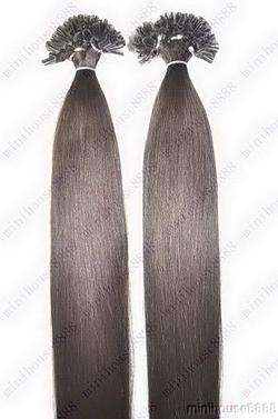 VLASY - KERATIN EXTENSION 100 pramenů TMAVĚ HNĚDÁ #02,50g, 55cm, 100% lidské vlasy k prodloužení