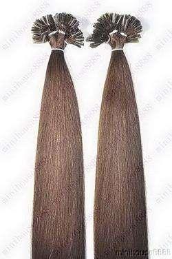 VLASY - KERATIN EXTENSION 100 pramenů STŘEDNĚ TMAVĚ HNĚDÁ #04,50g, 55cm, 100% lidské vlasy k prodloužení