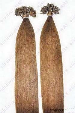 VLASY - KERATIN EXTENSION 100 pramenů SVĚTLEJŠÍ HNĚDÁ vlasy #08, 50g, 45cm,100% lidské k prodloužení