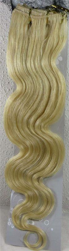 CLIP IN 7pásů BLOND vlnité #613, 75g, 45cm, 100% lidské vlasy k prodloužení