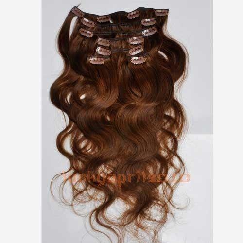 CLIP IN 7pásů TMAVĚ HNĚDÁ vlnité #4, 70g, 45cm, 100% lidské vlasy k prodloužení