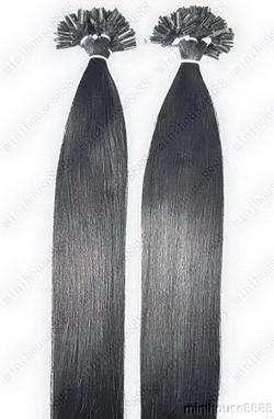 VLASY - KERATIN INDIAN REMY EXTENSION 100 pramenů ČERNÁ #01,80g, 40cm, 100% lidské vlasy k prodloužení