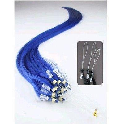 VLASY -MICRO RING 50 pramenů MODRÁ, 50g, 40cm,100% lidské vlasy k prodloužení