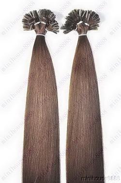 VLASY - KERATIN INDIAN REMY EXTENSION 100 pramenů HNĚDÁ #04,100g, 55cm, 100% lidské vlasy k prodloužení
