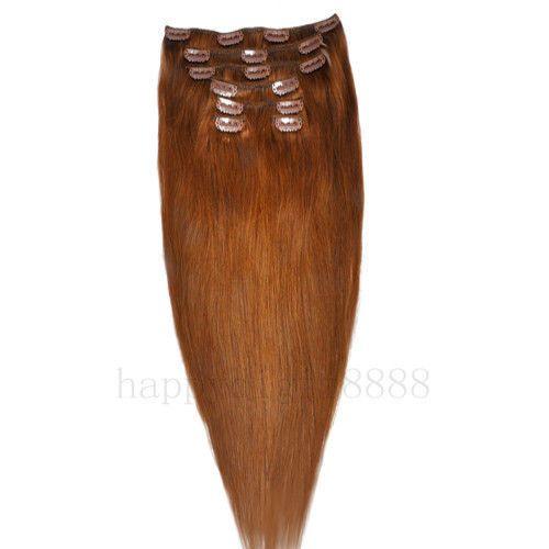 CLIP IN 7pásů SVĚTLEJŠÍ HNĚDÁ #08, 70g, 45cm, 100% lidské vlasy k prodloužení