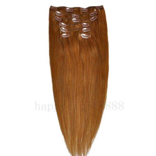 CLIP IN 7pásů SVĚTLE HNĚDÁ #12, 70g, 45cm, 100% lidské vlasy k prodloužení