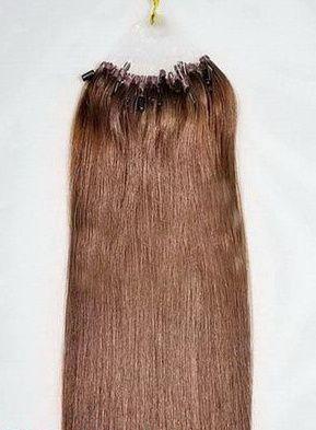 VLASY - MICRO RING INDIAN REMY 100 pramenů HNĚDÁ #4,100g, 55cm, lidské vlasy k prodloužení