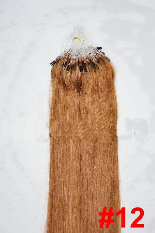 VLASY - MICRO RING INDIAN REMY 100 pramenů SV. HNĚDÁ #12, 100g, 55cm, lidské vlasy k prodloužení