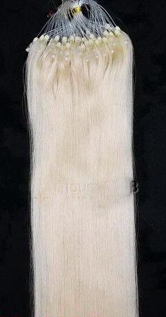 VLASY - MICRO RING INDIAN REMY 100 pramenů SV. BLOND #60, 100g, 55cm, lidské vlasy k prodloužení