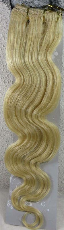 CLIP IN 7pásů BLOND vlnité #613, 75g, 50cm, 100% lidské vlasy k prodloužení