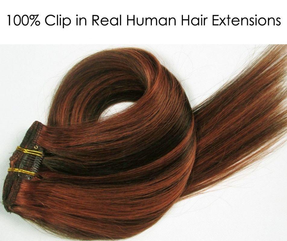 CLIP IN 7pásů HNĚDÝ MELÍR #4/30, 70g, 40cm, 100% lidské vlasy k prodloužení