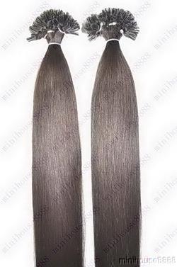 VLASY - KERATIN INDIAN REMY EXTENSION 100 pramenů TMAVĚ HNĚDÁ #02,100g, 60cm, 100% lidské vlasy k prodloužení