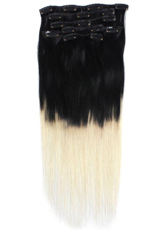OMBRE CLIP IN 7pásů ČERNÁ/blond #01/613, 70g, 45cm,100% lidské vlasy k prodloužení
