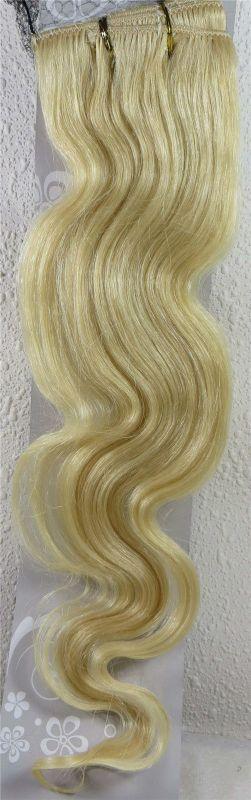 CLIP IN 7pásů BLOND vlnité #60, 75g, 55cm, 100% lidské vlasy k prodloužení