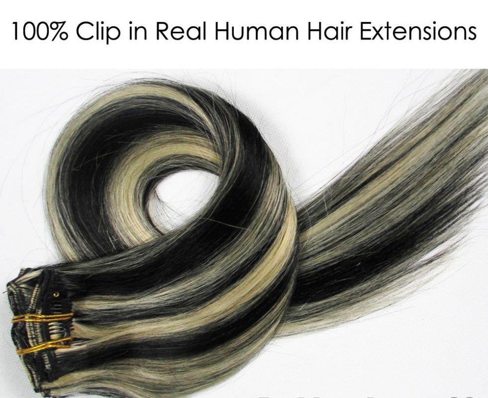 CLIP IN 7pásů BLOND MELÍR #1/613, 70g, 40cm, 100% lidské vlasy k prodloužení