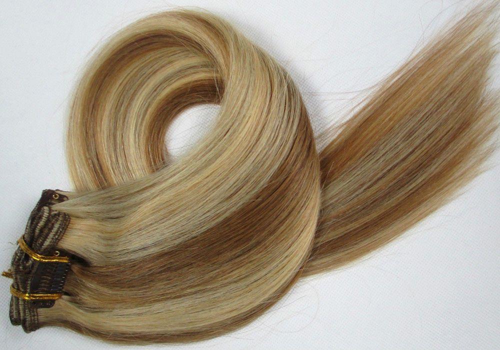CLIP IN 7pásů BLOND MELÍR #12/613, 70g, 45cm, 100% lidské vlasy k prodloužení