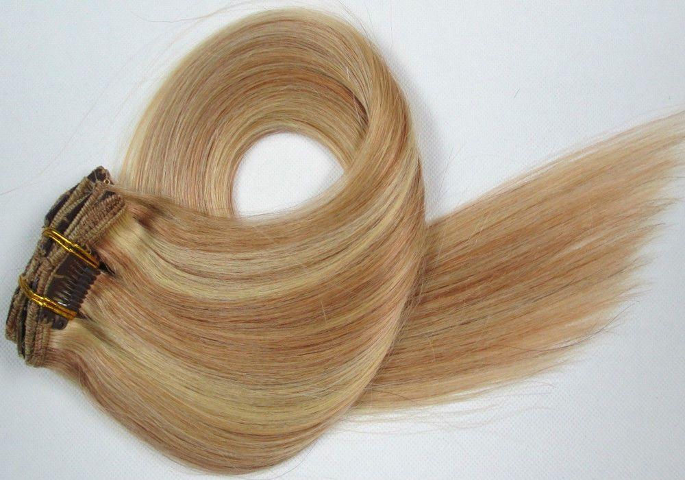 CLIP IN 7pásů BLOND MELÍR #27/613, 70g, 45cm, 100% lidské vlasy k prodloužení