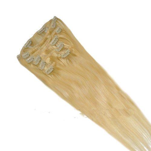 CLIP IN 7pásů BLOND #613, 75g, 50cm, 100% lidské vlasy k prodloužení