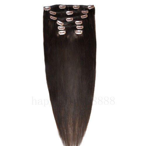 CLIP IN 7pásů TMAVĚ HNĚDÁ #02, 75g, 50cm, 100% lidské vlasy k prodloužení