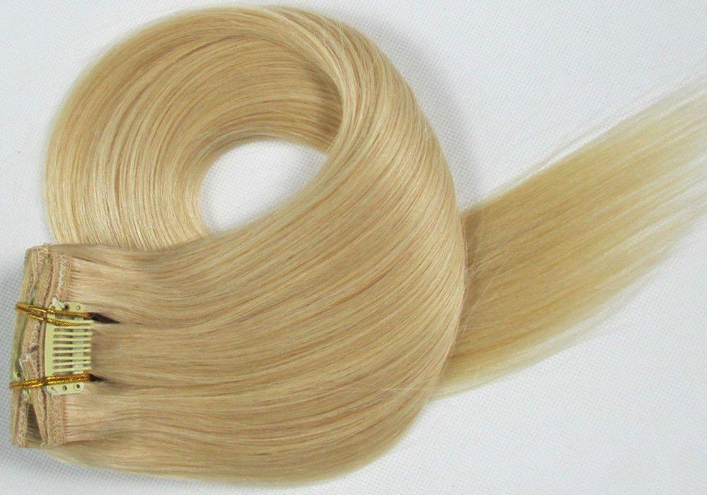 CLIP IN 7pásů BLOND #613, 75g, 55cm, 100% lidské vlasy k prodloužení