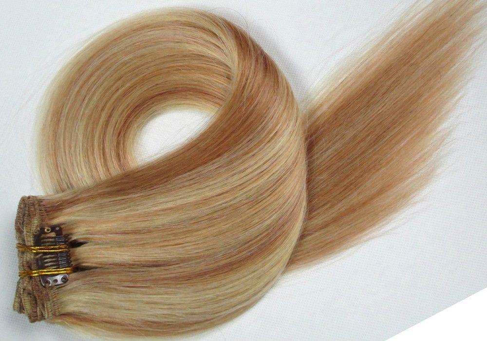 CLIP IN 7pásů BLOND MELÍR #12/613, 70g, 55cm, 100% lidské vlasy k prodloužení