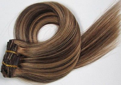 CLIP IN 7pásů HNĚDÝ MELÍR #4/27, 70g, 55cm, 100% lidské vlasy k prodloužení