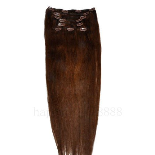 CLIP IN 7pásů TMAVŠÍ HNĚDÁ #04, 75g, 55cm, 100% lidské vlasy k prodloužení