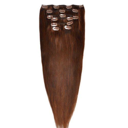 CLIP IN 7pásů STŘEDNĚ HNĚDÁ #04, 70g, 40cm, 100% lidské vlasy k prodloužení