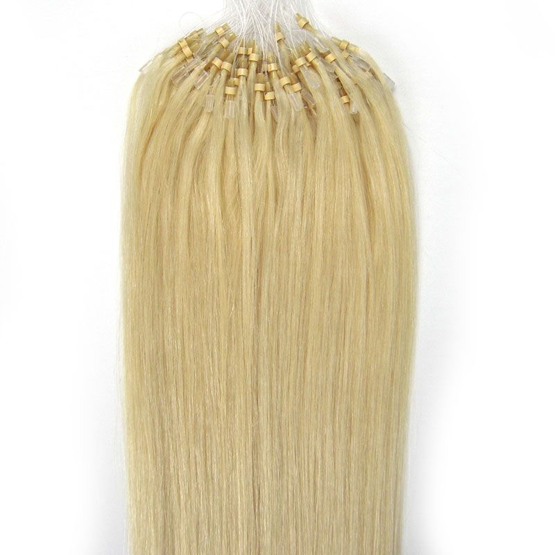 VLASY -MICRO RING 100 pramenů SVĚTLÁ BLOND #613, 50g, 40cm, 100% lidské vlasy k prodloužení