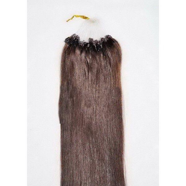 VLASY - MICRO RING 100 pramenů TMAVĚ HNĚDÁ #02,50g, 40cm, 100% lidské vlasy k prodloužení