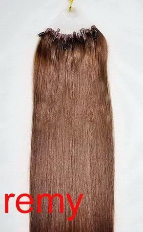 VLASY - MICRO RING 100 pramenů TMAVŠÍ HNĚDÁ #04,50g, 40cm, lidské vlasy k prodloužení