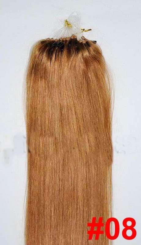 VLASY -MICRO RING 100 pramenů SVĚTLE HNĚDÁ #08,50g, 50cm,100% lidské vlasy k prodloužení
