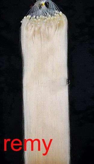 VLASY -MICRO RING 100 pramenů SVĚTLÁ BLOND #60, 50g, 50cm,100% lidské vlasy k prodloužení