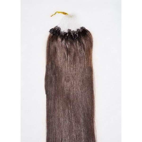 VLASY -MICRO RING 100 pramenů TMAVĚ HNĚDÁ #02,50g, 50cm, 100% lidské vlasy k prodloužení