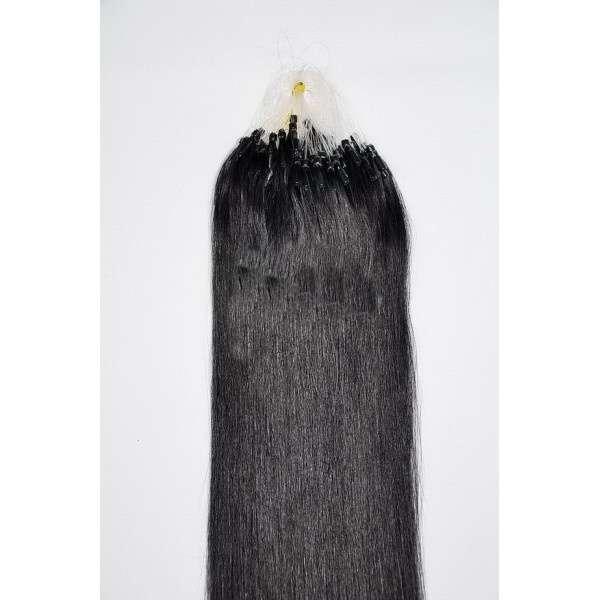 VLASY - MICRO REMY 100 pramenů ČERNÁ #1,50g, 40cm, lidské vlasy k prodloužení