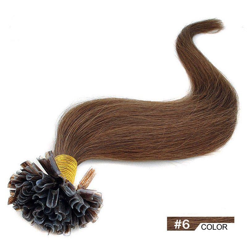 VLASY - KERATIN EXTENSION 100 pramenů REZAVÁ HNĚDÁ #06,50g, 45cm,100% lidské vlasy k prodloužení