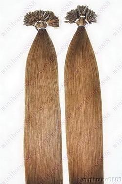 VLASY - KERATIN INDIAN REMY EXTENSION 100 pramenů SVĚTLE HNĚDÁ #08,80g, 40cm, 100% lidské vlasy k prodloužení