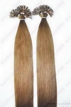 VLASY - KERATIN INDIAN REMY EXTENSION 100 pramenů SVĚTLE HNĚDÁ #12,80g, 40cm, 100% lidské vlasy k prodloužení