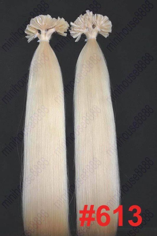 VLASY - KERATIN INDIAN REMY EXTENSION 100 pramenů SVĚTLÁ BLOND #613, 80g, 40cm, 100% lidské vlasy k prodloužení