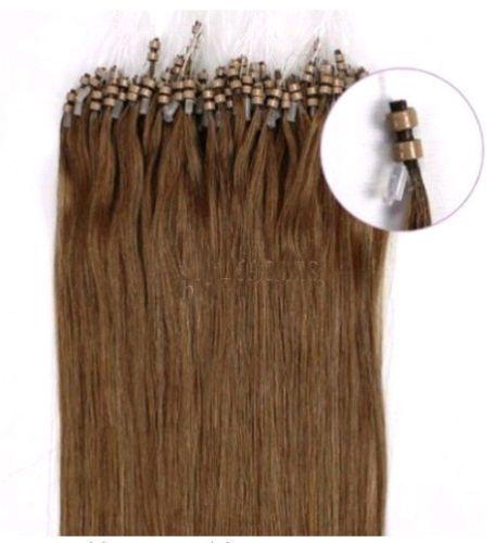 VLASY -MICRO RING 100 pramenů STŘEDNĚ HNĚDÁ #06,50g, 55cm,100% lidské vlasy k prodloužení