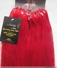 VLASY -MICRO RING 50 pramenů ČERVENÁ, 40g, 40cm,100% lidské vlasy k prodloužení