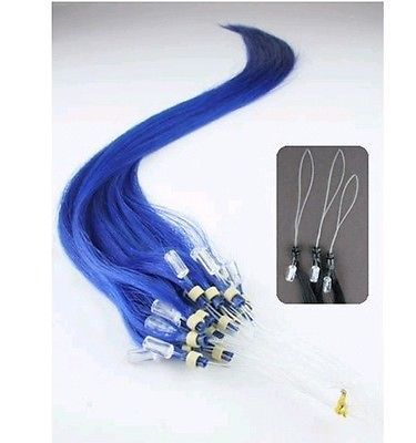 VLASY -MICRO RING 50 pramenů MODRÁ, 50g, 45cm,100% lidské vlasy k prodloužení